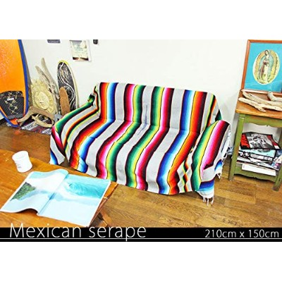 RUG&PIECE Mexican Serape made in mexcico ネイティブ メキシカン サラペ メキシコ製 210cm×150cm (rug-6253)