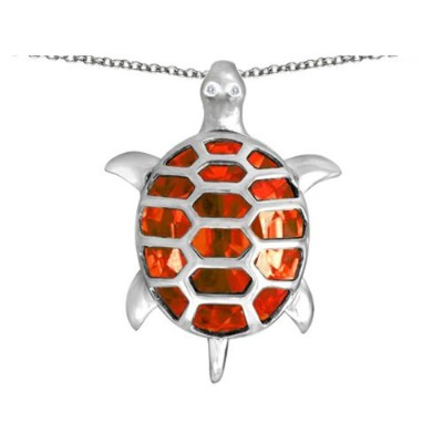 STAR KスターリングシルバーGood Luck Turtle Pendant with Oval Stone