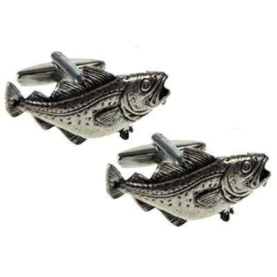 Cod Angling釣りロッドシルバーピューター魚ギフトCuff Links by Cufflinks Direct グレー
