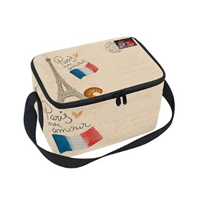 Thermal Insulated Lunch Boxsエッフェル塔クーラーバッグfor Workメンズレディース 10x7x6(LxWxH) inches xinming_001