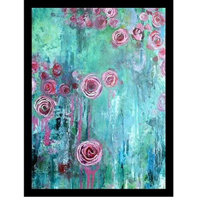 Framed Climbing Roses I by Annie Flynn 18 x 24アートプリントポスター抽象花柄ペイントMade in the USA 。ハングする準備Comes 。