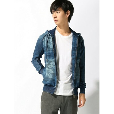 【SALE/10%OFF】1PIU1UGUALE3 RELAX TETE HOMME/(M)【1PIU1UGUALE3 RELAX】ジョグデニムカモフラフードパーカー テットオム カットソー【RBA...