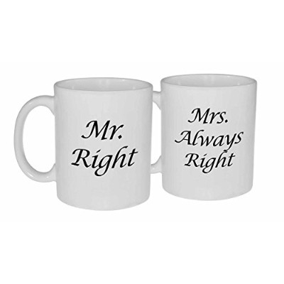 Mr。Right Mrs Always Rightコーヒーマグセット – Funnyシャワー結婚記念日ギフト