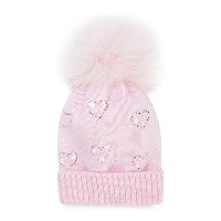 Catya Kids heart embellished knitted hat - ピンク