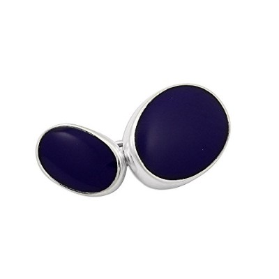 Sayers London Sterling Silver Lapis Double-sided Cufflinks