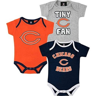 Chicago Bears 3pc Creeper Bodysuit Set Infant Baby Tiny Fan (3-6 Months)
