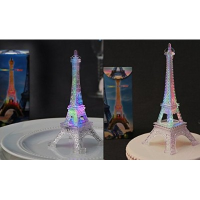 """Eiffel Tower - Replica - SET of 2 - One is10"""" high, One is 13cm High, Lights up w/changing colours"""