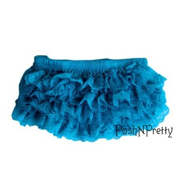 Premium Lace Ruffle Bloomer Diaper cover. Size small. 0 to 12m - TURQUOISE by PoshNPretty