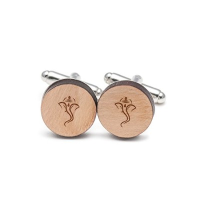 Ganesh Cufflinks , Wood Cufflinks Hand Made In The USA