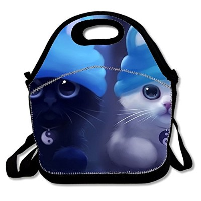Lunch Tote for大人ポリエステルランチボックスfor Women with Cute Cat Wearingウサギ耳帽子 Size