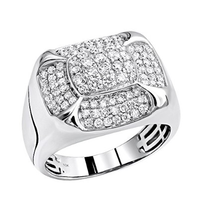10 Kローズ、ホワイトまたは黄色ゴールドピンキーリングReal Diamond Band for Men 1.5 CTW by Luxurman