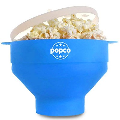 (Light Blue) - The Original POPCO Silicone Microwave Popcorn Popper with Handles BPA free (Light...