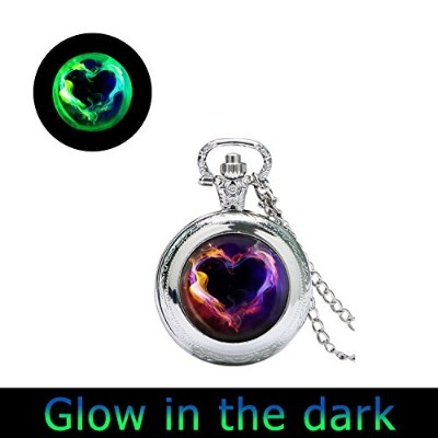 glowlala Glowing Fire Heart Pocket Watchペンダント、ハート時計ペンダントネックレス、Fire Love時計ペンダント、愛ギフト腕時計ペンダント...
