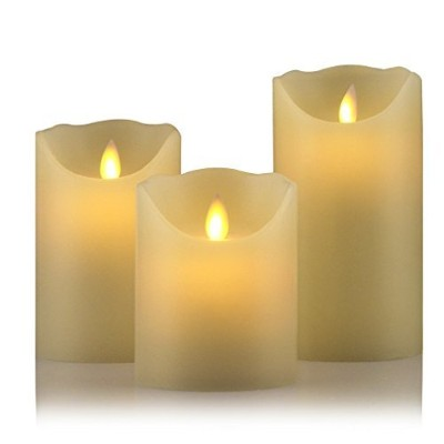 Real Wax Flameless LED Candles with 10-keyリモート制御とタイマー機能LED Candle 3a UL100004