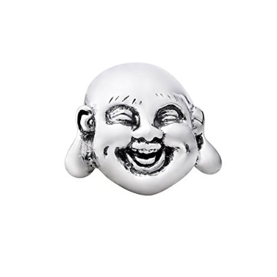 Quiges 925スターリングシルバー3d Happy Laughing Chinese Buddha Faceビーズチャーム