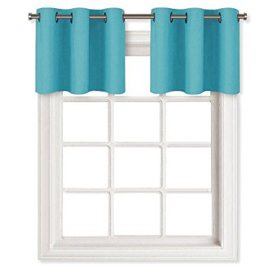 (W29 L18-2 Panels, Turquoise) - Thermal Insulated Blackout Window Valances - Energy Efficient Home...