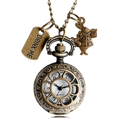 Quartz Pocket Watch Alice in Wonderland Drink MeデザインFob Watches withネックレス