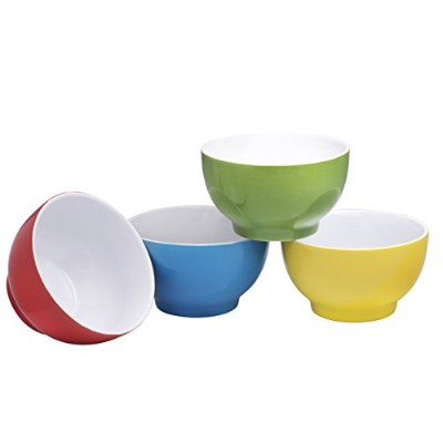 (Multicolor) - Everyday Ceramic Bowls - Cereal, Soup, Ice Cream, Salad, Pasta, Fruit, 590ml Set of...
