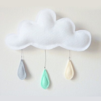 The Butter Flying 雲のウォールハンギング 壁飾り Cloud Mobile (grey-mint-cream)