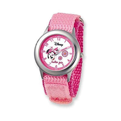 Disney Kids MinnieマウスピンクVelcro Band Time Teacher Watch
