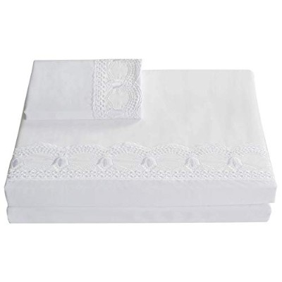 (King, White) - Merryfeel Organic Cotton Sateen 300 Thread Count Embroidered Lace Sheet Set White...