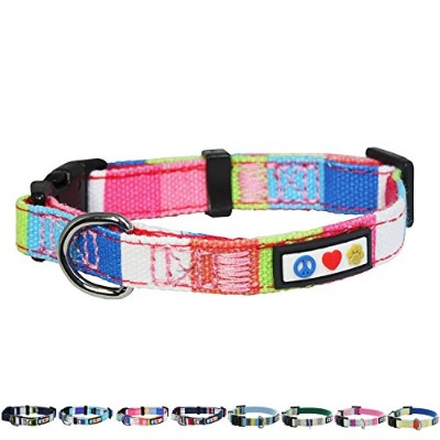 Pawtitas Extra Small Dog Collar Pink White Blue Green by PAWTITAS