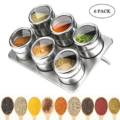 (Silver) - Magnetic Spice Tins with Spice Rack 304 Stainless Steel Kitchen Spice Jars Set Magnetic...