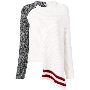 MRZ asymmetric ribbed knit jumper - ホワイト
