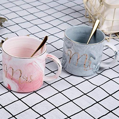 Mr and Mrs Coffee Mugs Set of 2,OAMCEG 330ml Couples Ceramic Coffee Cup with Gold & Marble Design +...