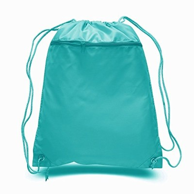 (Turquoise) - (12 Pack) Set of 12- Economical Drawstring Polyester Backpack with Front Pocket ...