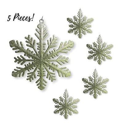 Glittery Christmas Decorations - Set of 5 - Gold Glittered Large Snowflakes - Christmas Decor
