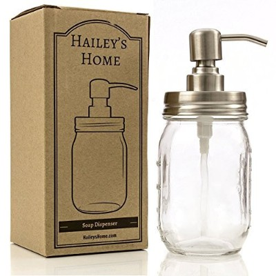 Ball Mason Jar Soap Dispenser - Metal Pump from Stainless Steel with Clear Glass Jar for in Kitchen...