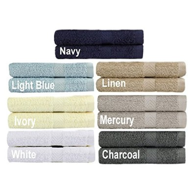 (Hand) - Cotton Craft - 14 Pack Multi Colour Hand Towels - 100% Ringspun Cotton - 16x28 - Light Weight 450 Grammes - Quick Drying and Highly Absorbent - Colours - Ivory, Light Blue, White, Linen, Mercury, Charcoal