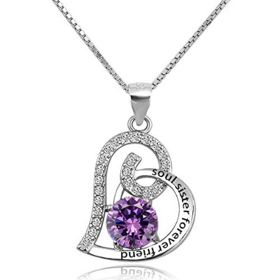 JewelryJo Love Heart Soul Sister Forever Friend 925スターリングシルバーネックレスペンダント 誕生石ギフト