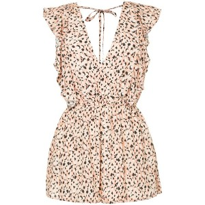Suboo leopard print playsuit - イエロー&オレンジ