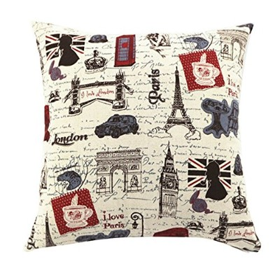 (20 50cm NO INSERT, Eiffel Tower and Triumphal Arch) - Multi-sized Eiffel Tower Printing Cushion...