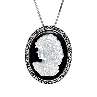 Victorian純正母のパールCarved Lady PortraitカメオPendentピンブローチ