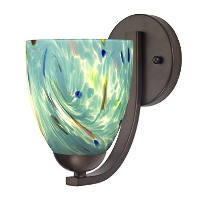 Sconce withターコイズアートガラスでブロンズ仕上げ