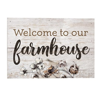 Welcome to Our Farmhouseホワイトウォッシュ10 x 7木製ボックス版Pallet Wall Plaque Sign