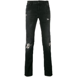 Just Cavalli distressed slim fit jeans - ブラック