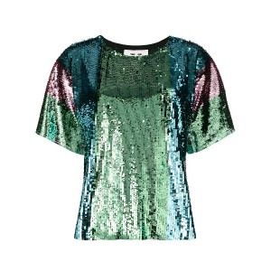 Circus Hotel sequin shortsleeved blouse - グリーン