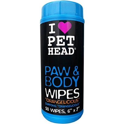 Pet Head My Paws Rock Grooming Wipes Orangelicious 50 count For Dogs and Cats