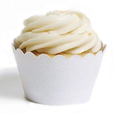 (White) - Dress My Cupcake Standard Reusable Glitter Cupcake Wrappers, Set of 50 (White)