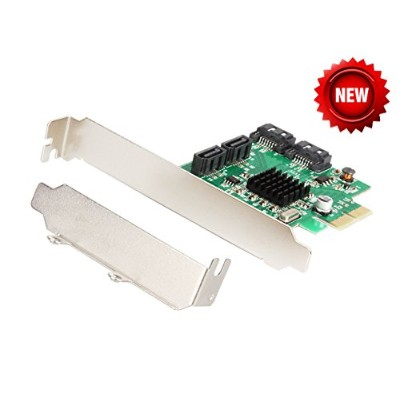 HENXUN SATA III 4-port PCI-e Version 2, x2 Slot Controller Card, 4 SATA ポート増設インターフェースボード with Full...
