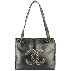 Chanel Vintage CHANEL Studs CC Shoulder Tote Bag Black Leather - ブラック