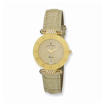PerfectジュエリーギフトLadies Jacques Du ManoirベージュストラップCrystal Accent Watch
