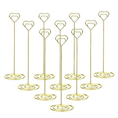 (Gold-8.6inch-10pack) - Jofefe 10pcs 22cm Tall Place Card Holder Table Number Holder Table Card...