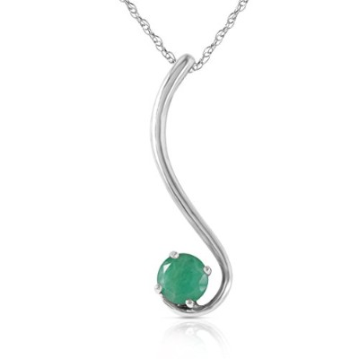"""K14 White Gold 18"""" Necklace with Natural Emerald"""