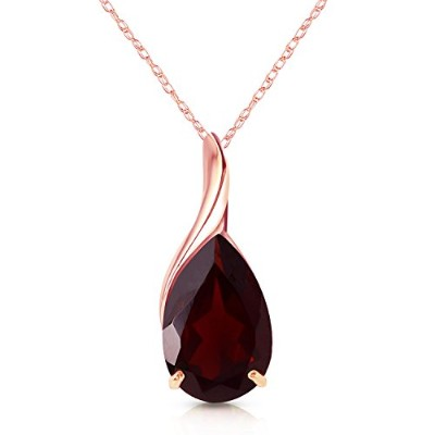 """K14 Rose Gold 18"""" Necklace with Natural Pear-shaped Garnet"""