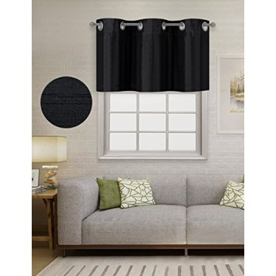 (Grommet-37x18, Black) - Home Queen Solid Grommet Top Blackout Curtain Valance Window Treatment for...